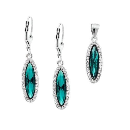 SENZA Silver 925 Set Pendant Earrings SSR2367TQ