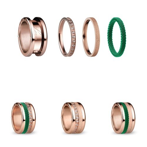 BERING Symphony Set Green Lights Stainless Steel Ring GREENLIGHTS
