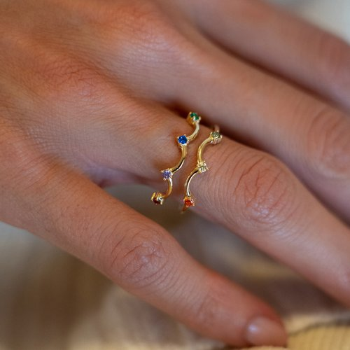 JCOU Rainbow Silver 925 Ring JW902G0-03