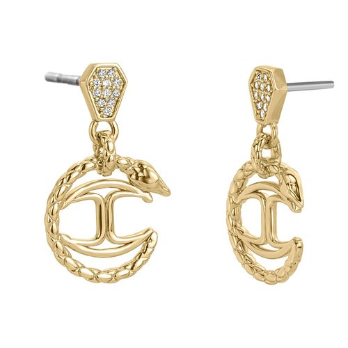 JUST CAVALLI Logo Gold Stainless Steel Earrings JCER00770200
