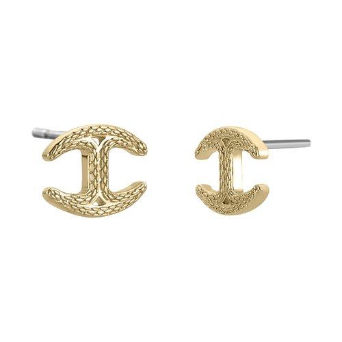 JUST CAVALLI Logo Gold Stainless Steel Earrings JCER00850200