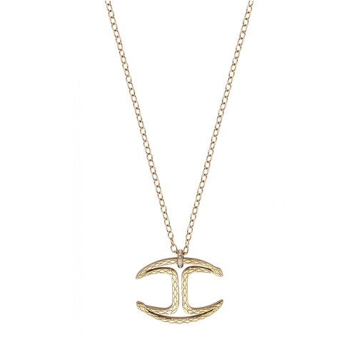 JUST CAVALLI Logo Gold Stainless Steel Necklace JCNL00850200