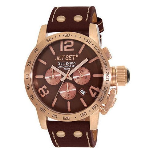 Jet Set San Remo Chronograph Rose Gold Brown Leather Strap J8358R-736